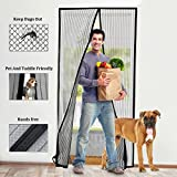 Fly Screen Door, BearMoo Fits 110x220CM Sticky Design Magnetic Fly Insect Screen Door Screen for keeping out flies, with Heavy Duty Mesh Curtain and Hook & Loop tapes Included, Easy Installation, No Gap