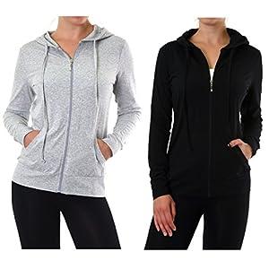 Teejoy Women's Thin Cotton Zip Up Hoodie Jacket (L, Black-Grey)
