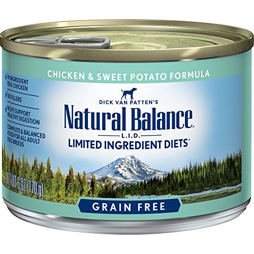 Natural Balance L.I.D. Limited Ingredient Diets Canned Wet Dog Food, Grain Free, Chicken And Sweet Potato Formula, 6-Ounce (Pack Of 12)