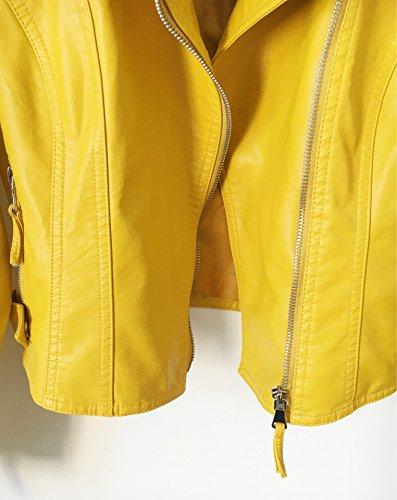 Donna Inverno Giallo Lunga Autunno Pu Con Di Pelle Cappotto Punk Moto Giacca Jacket Cerniera Corto Manica rxwqCrzf