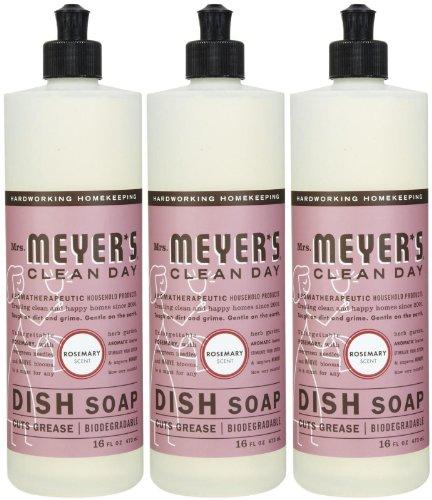 Meyer Soap Dish - Mrs. Meyer's Clean Day Liquid Dish Soap, Rosemary, 16 Ounce Bottles, 3pk