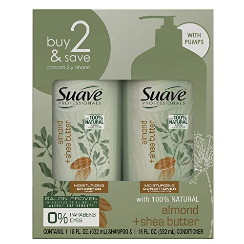 SUAVE HAIR Professionals Almond + Shea Butter Moisturizing Shampoo And Conditioner, 36 Fl Oz (packaging may vary)