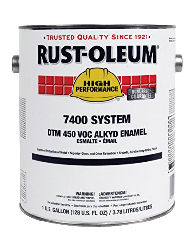 Rust-Oleum 2766402 High Gloss White High Performance 7400 System 450 VOC DTM Alkyd Enamel Paint, 1 gal Can (Pack of 2)