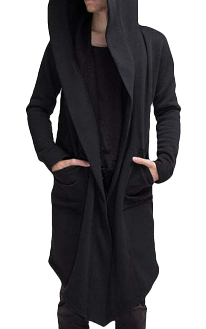 Nanquan Men Outwear Phocho Cape Cloak Hoodie Cardigan Open Front Long Coat