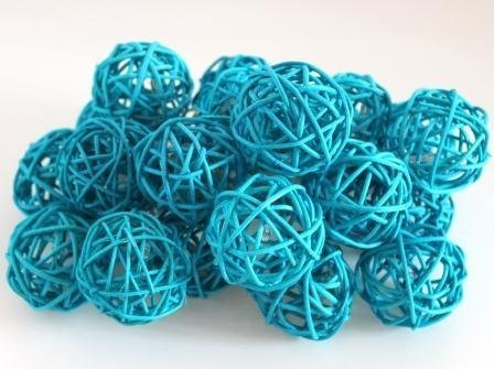 2 Packages Olivia Decorative Spheres of 6-Turquoise Blue Rattan Ball Twig Grapevine Vase Fillers Balls Ornament Decoration Bowl Filler Great For Crafting 2.25 inches-12 Pcs ()