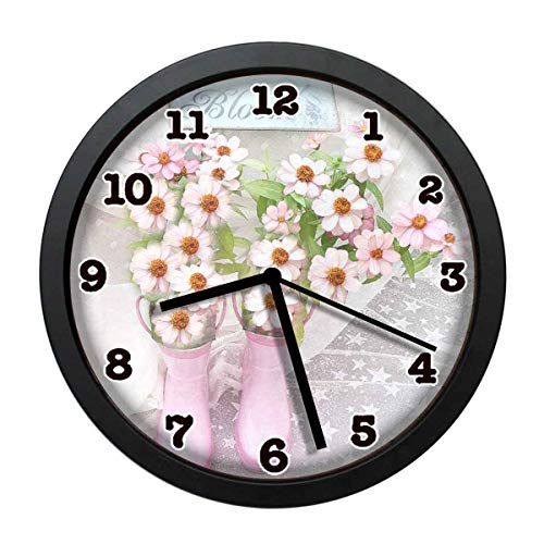jiushiyigezi-n Dreamy Cottage Garden Individuality Modern Wall Clock, Silent Non-Ticking Quartz Wall Clock for Living Room School Office 10in with - Cottage Clock Garden