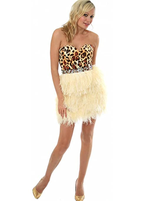 Sherri Hill Dress Leopard Bustier Feather Prom - Style 2337 UK 14 Cream/Ivory: Amazon.co.uk: Clothing