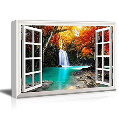 Window View Canvas Wall Art - Waterfall in The Forest with Red Trees - Giclee Print Gallery Wrap Modern Home Art Ready to Hang - 12x18 inches