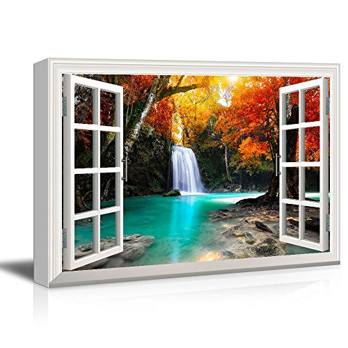wall26 Window View Canvas Wall Art - Waterfall in the Forest with Red Trees - Giclee Print Gallery Wrap Modern Home Decor Ready to Hang - 24x36 (Fall Window)