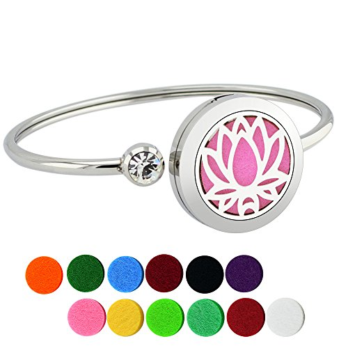 Lademayh Aromatherapy Essential Oil Diffuser Bracelet Lotus Pattern Locket with Crystal Jewelry, Adjustable Turn-Cuff Bangle and 12 Felt Pads