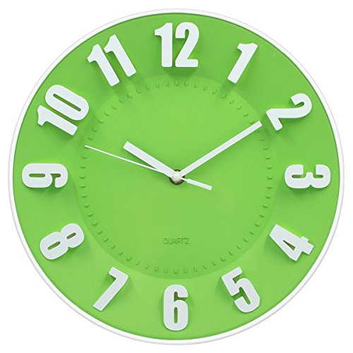HIPPIH 12 Inches 3D Wall Clock - Numerals Modern with Silent Non Ticking Sweep Movement,Concave Shaped Decorative Clock - Round, Green