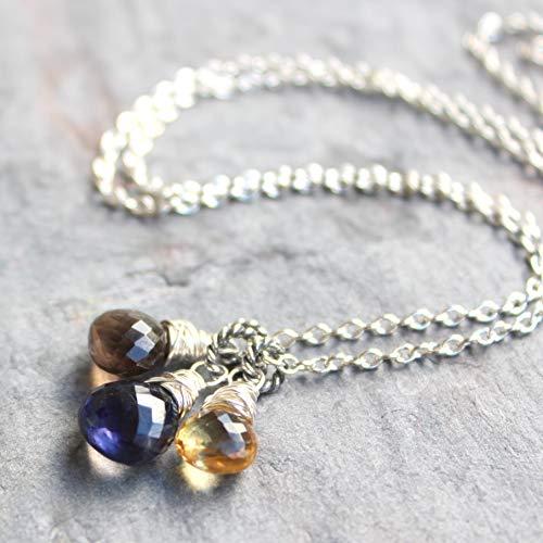 Citrine Smoky Quartz Iolite Necklace Sterling Silver Multi Stone Blue Honey Brown 18