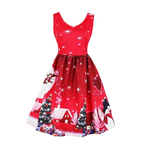 GOVOW Christmas Dresses for Women Vintage Plus Size Santa Christmas Party Dress Xmas Swing Skater -