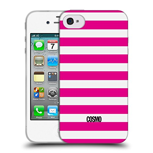 Official Cosmopolitan Pink Stripes Collection Soft Gel Case for Apple iPhone 4 / 4S