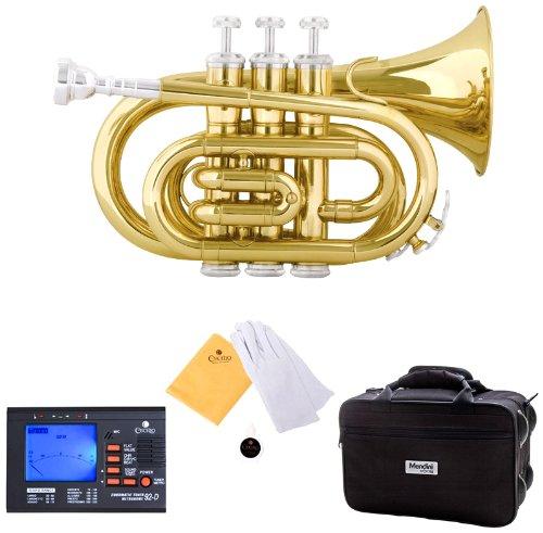 Mendini MPT-L Lacquer Brass Bb Pocket Trumpet, Gold Cecilio Musical Instruments MPT-L+92D