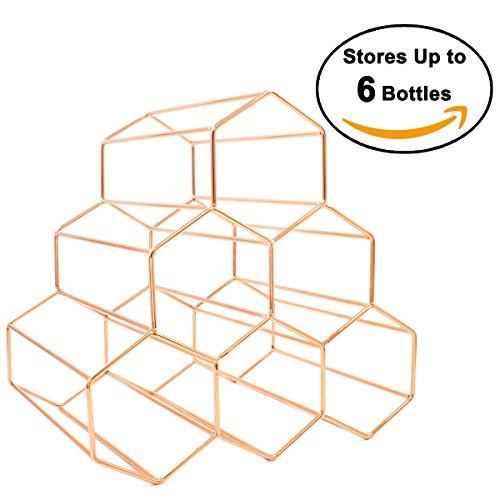 Buruis 6 Bottles Metal Wine Rack, Countertop Free-stand Wine Storage Holder, Space Saver Protector for Red & White Wines - (6 Wine Racks)
