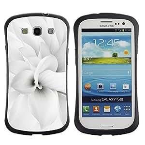 """Hypernova Slim Fit Dual Barniz Protector Caso Case Funda Para SAMSUNG Galaxy S3 III / i9300 / i747 [Floral blanca flor del pétalo minimalista Primavera""""]"""