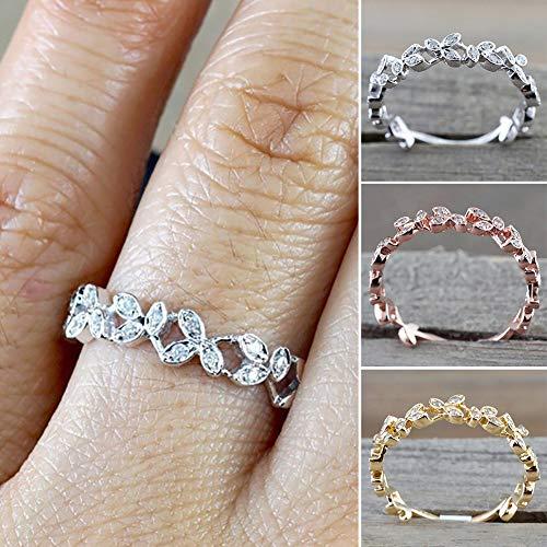 Slendima Exquisite Hollow Leaf Design Women Fashion Rhinestone Jewelry Engagement Wedding Ring Silver US 6 by Slendima (Image #6)