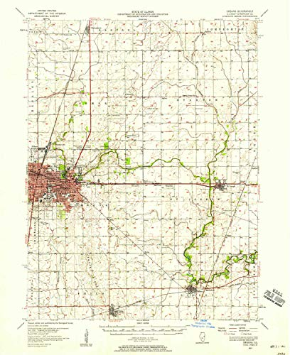 - YellowMaps Urbana IL topo map, 1:62500 Scale, 15 X 15 Minute, Historical, 1957, Updated 1958, 20.8 x 17 in - Polypropylene