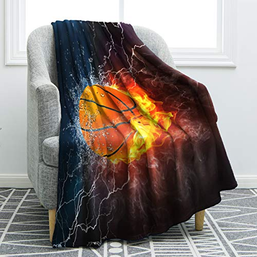 - Jekeno Basketball Blanket Print Cozy Ligtweight Durable Bed Couch Blanket Plush Microfiber 50