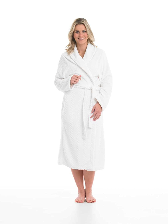 Ladies Slenderella Super Soft Fleece Dressing Gown Textured Shawl Collar Ankle Length Wrap Bathrobe