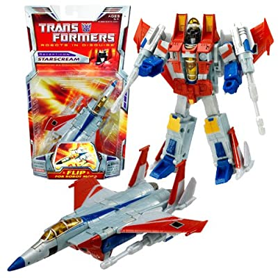 Hasbro Year 2006 Transformers Classic Series Deluxe Class 6 Inch Tall Robot Action Figure - Decepticon Air Commander STARSCREAM with Twin Null-Ray Cannons and Firing Projectiles (Vehicle Mode: Fighter Jet)