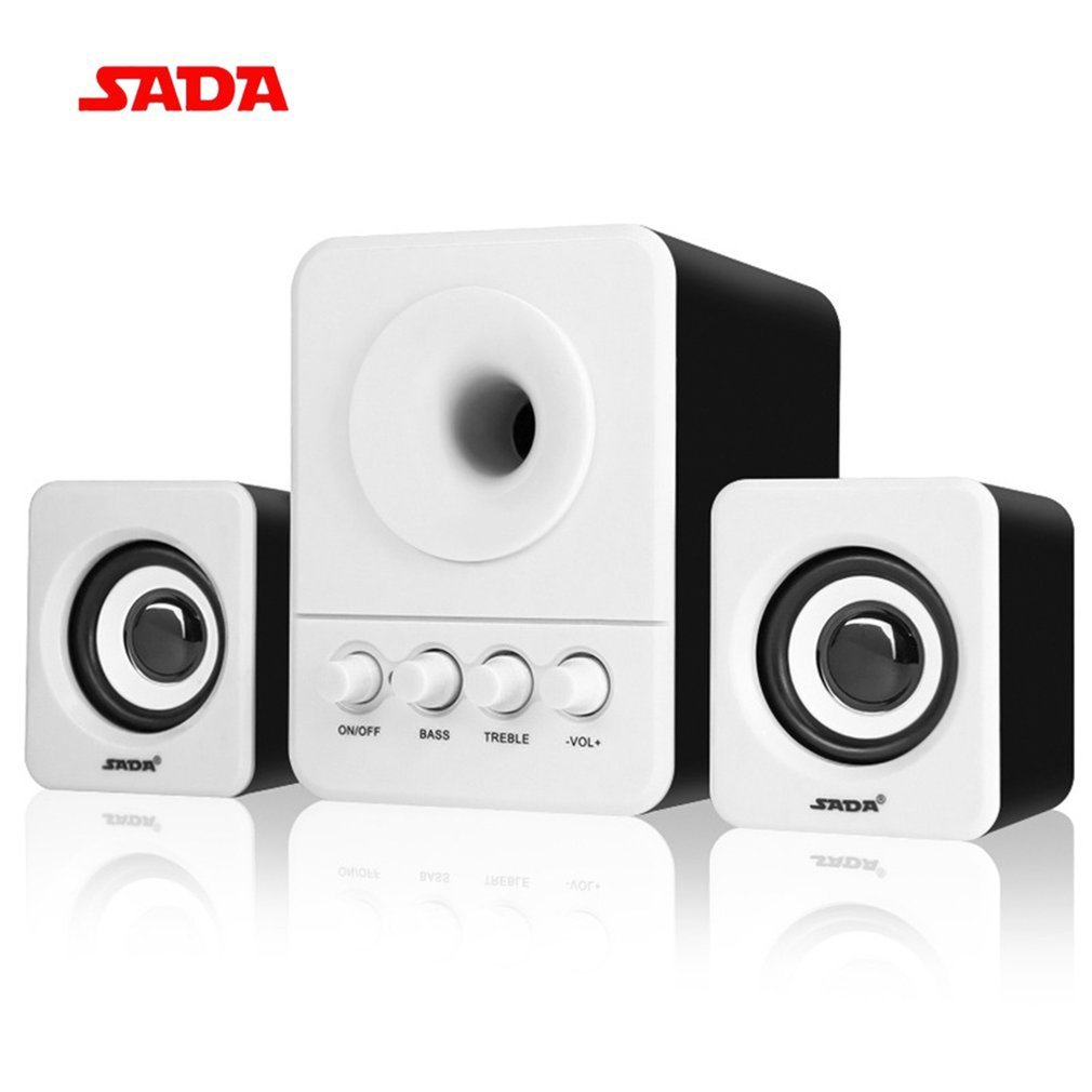 SADA D-203 Wired Mini Portable Combination Speaker For Laptop Desktop Computer, White