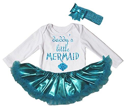 [Petitebella Daddy's Little Mermaid White L/s Bodysuit Peacock Blue Tutu Nb-18m (12-18 Months)] (Little Mermaid Tutu Dress)