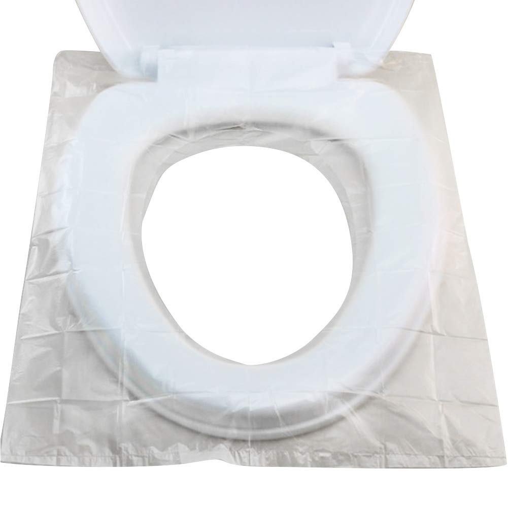 Exttlliy Portable Disposable Toilet Seat Covers, Individually Wrapped Plastic Potty Covers, Antibacterial Waterproof and Non Slip, Pocket Size Travel Set 100 Count
