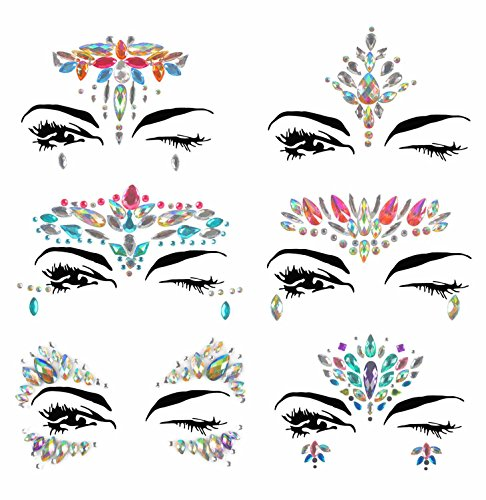 Face Jewels, Ynredee 6 Sets Women Mermaid Rave Festival Glitter Body Sticker, Rhinestone Temporary Tattoo Face Gems Crystals Eyebrow Face Body Jewelry Halloween, Christmas, All Saints' Day