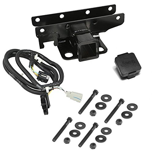 Rugged Ridge 11580.52 2 Receiver Hitch Kit with Jeep Logo Plug for 2007-2018 Jeep Wrangler JK
