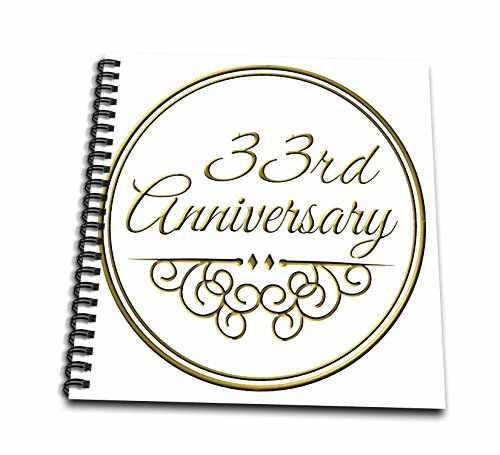 3dRose db_154475_2 33Rd Anniversary Gift Gold Text for Celebrating Wedding Anniversaries 33 Years Married Together Memory Book, 12 by 12-Inch