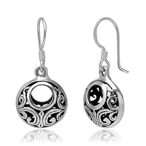 925 Oxidized Sterling Silver Bali Inspired Open Filigree Circle Dangle Hook Earrings ()