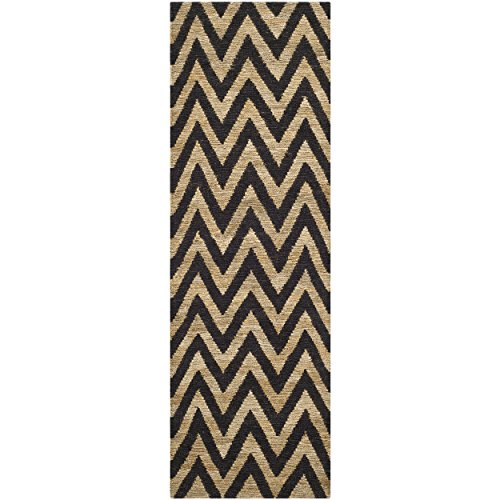 - Safavieh Organica Collection ORG515A Hand-Knotted Black and Natural Wool Runner (2'6