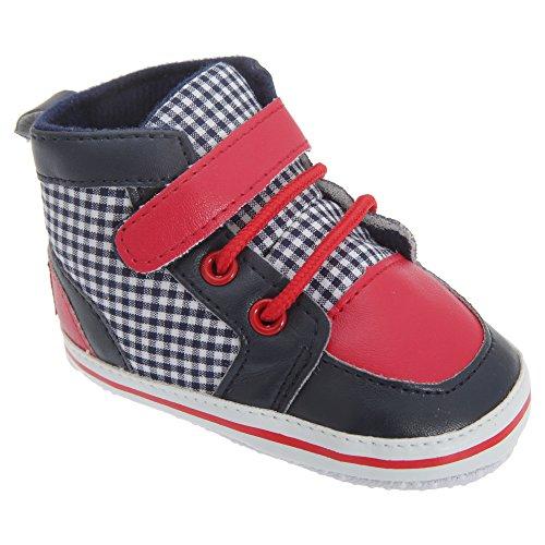 Patucos/ Zapatillas / Botas para bebes niños con cordones y correa de velcro Modelo Checked Azul marino/ Rojo