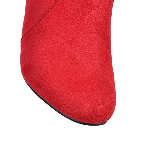 Toe High Frosted Boots Round Pull On Heels Closed Women's Top High AgooLar Red YCZqxgw11
