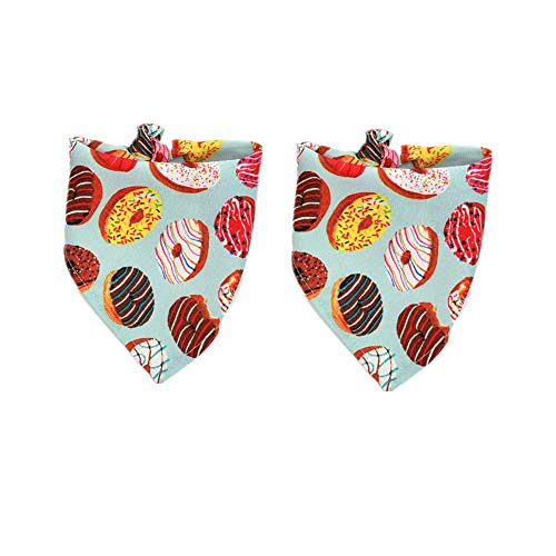 (ALLking 2 Pack Dog Triangle Bandanas Bids Pet Kerchief Accessories Cats Birthday Party Square Scarf, Donut)