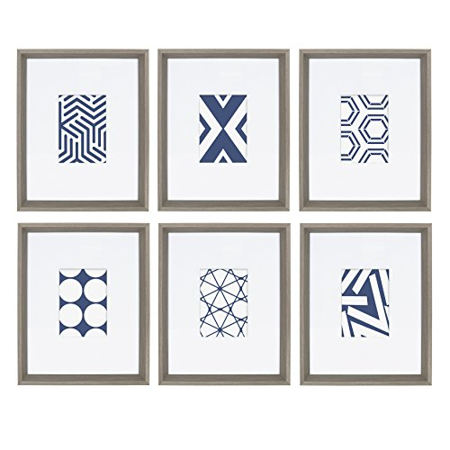 Kate and Laurel Calter 6 Framed Modern Blue and White Geometric Abstract Art Prints, Gray ()