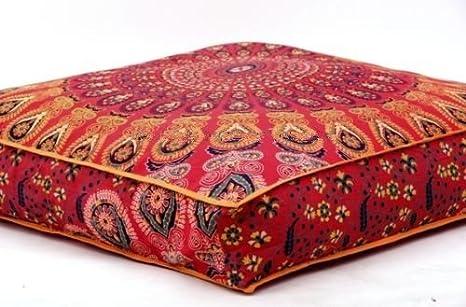 Funda de cojín con diseño de mandala india, de Bhagyoday Fashions, cuadrada, para cama de perro y mascotas: Amazon.es: Hogar