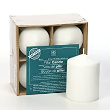 """Hosley's Set of 4 White 4"""" High Unscented Pillar Candles. Bulk Buy. High Quality Wax Blend. Ideal for Wedding, Emergency Lanterns, Spa, Aromatherapy, Party, Reiki, Candle Gardens"""
