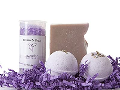 Bath/Spa Gift Set | Natural Handmade Lavender Soap Bar, Lavender Scented Dead Sea Bath Salts, 2 Lavender Fizzy Bath Bombs | Gift Boxed | Made in the USA by Tatum & Shea
