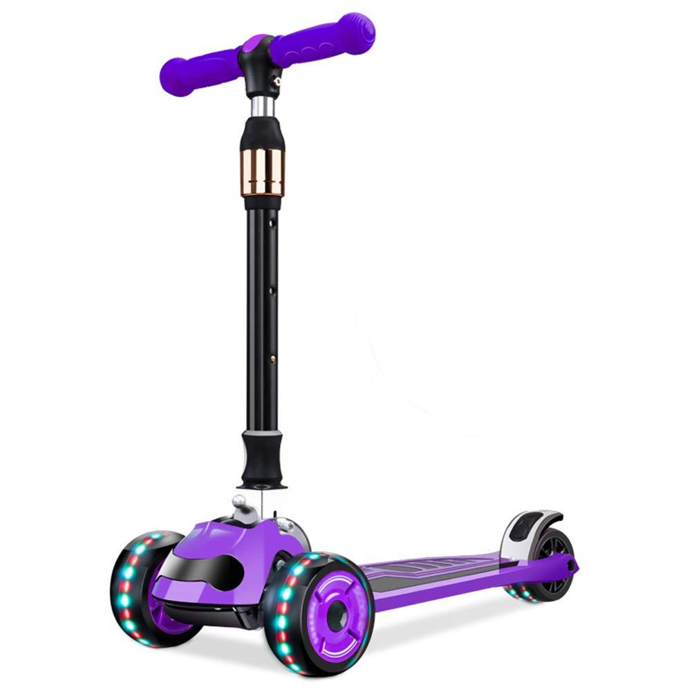 【新作からSALEアイテム等お得な商品満載】 キックスクーター三輪車スケートボードペダル式乗用スタントスクーター最初のスクーター折りたたみTバーハンドルLEDライトアップホイール付き調節可能な Purple-flash B07H7GZ1TL B07H7GZ1TL Purple-flash Purple-flash Purple-flash, フロアLIFE:5765bc56 --- a0267596.xsph.ru