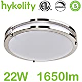 Hykolity 14 Inch Dimmable LED Flushmount Ceiling Downlight Brushed Nickel Round Lamp Fixture 22W [160W Equivalent] 1650lm 4000K for Bedroom, Restroom, Walk In Closet, Washroom, Living Room