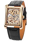 AMPM24 Men's Automatic Mechanical Classic Skeleton Black Leather Band Wrist Watch PMW079