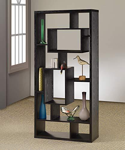 Benzara BM156232 Asymmetrical Cube Book Case with Shelves Black