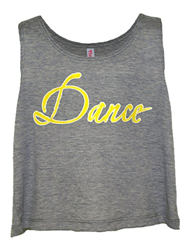 Tia's Dance Wear Girl's Gray Crop Tank Top Gray, White, Yellow Large (Girls T-shirt Dance)