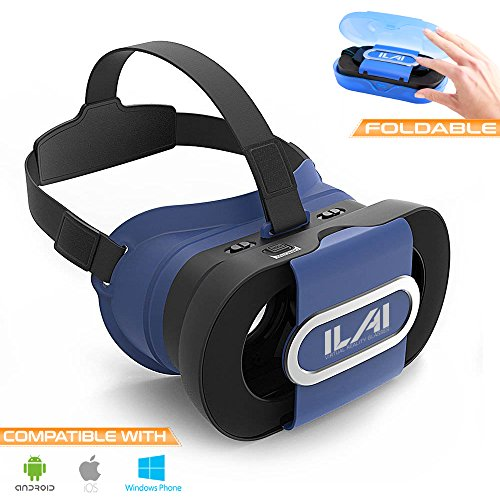 VR Headset Virtual Reality Glasses 3D Foldable for VR Games & Movies with Capacitive Touch Button - Lightweight & Portable with Protective Case - Compatible with 4.0-6.0 inch screens, iOS & Android