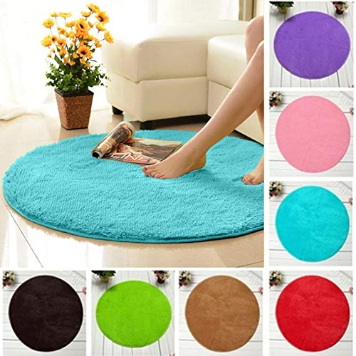 Clearance Tuscom Coral Fleece Round Rug Non-Slip Mat for Soft Bath Bedroom Floor Shower(10 Colors) (Black) by Tuscom@ (Image #4)