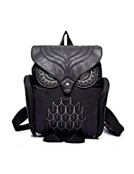 Celendi Women Leather Owl Backpack Shoulder Bag School Bag (Black)