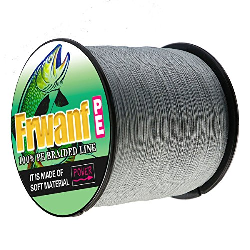 Frwanf Braided Fishing Line 8 Strands Super Strong PE Fishing String ExtremePower Fishing Braid Line for Saltwater and Fresh Water 130 LB Test 100M/109Yards Gray
